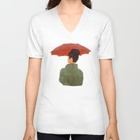 umbrella V-neck T-shirts featuring Umbrella by Eveline