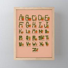 Succulent Alphabet Framed Mini Art Print