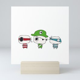 Two Pirates and the Green Pirate Captain Mini Art Print