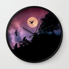 Crow meeting Wall Clock