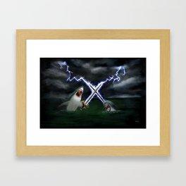 Shark vs. Narwhal  Framed Art Print