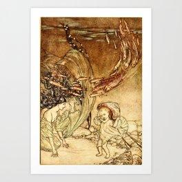 Arthur Rackham - Fouqué - Undine (1909) - The Infancy of Undine Art Print
