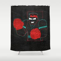 boxing Shower Curtains featuring Boxing Gloves by subpatch