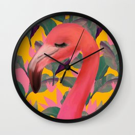 Flamingo with retro Luxe Lilies Wall Clock