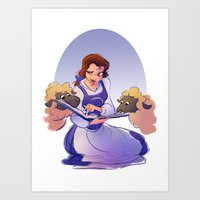 belle Art Prints featuring Belle by samanthadoodles