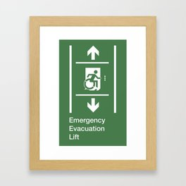Accessible Means of Egress Icon, Emergency Evacuation Lift / Elevator Sign Framed Art Print