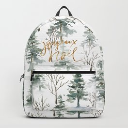 Winter trees pattern gold Joyuex Noel typography Backpack