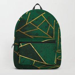 Emerald Green Modern Geometric Gold Lines Backpack