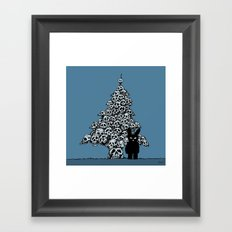 The Black Bunny of Doom and his Skull Christmas tree Framed Art Print