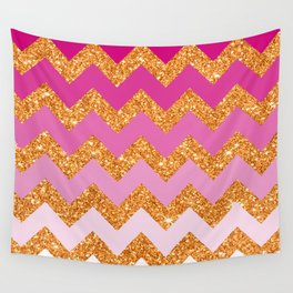 Rosey Gold Chevron Wall Tapestry