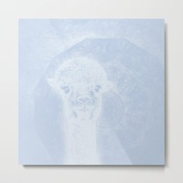 Ghostly alpaca and mandala in serenity blue Metal Print