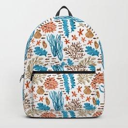Coral Reef Watercolor Pattern- Teal Backpack