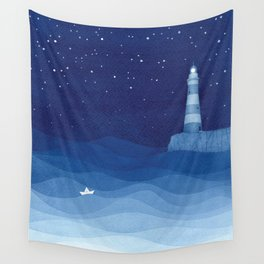 Lighthouse & the paper boat, blue ocean Wall Tapestry