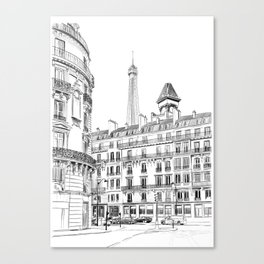Parisian street - Architectural illustration Canvas Print