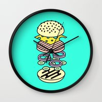 burger Wall Clocks featuring Burger by Jan Luzar