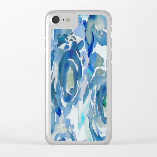 Sky Blue Painterly Floral Abstract Clear iPhone Case