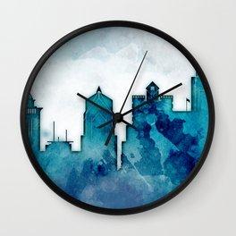 Blue Watercolor Dallas skyline design Wall Clock