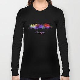 Lagos skyline in watercolor Long Sleeve T-shirt
