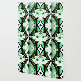 Bows and Flowers on Teal,White,Green,Black,Gold,Orange Wallpaper