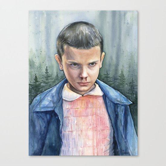 Stranger Things Eleven Watercolor Portrait Art Canvas Print