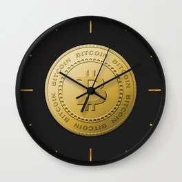 Gold Bitcoin Logo Symbol The Future is Now Wall Clock