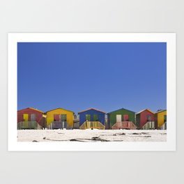 Colourful beach huts on the beach in Muizenberg, South Africa Art Print