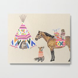 Family with horse, fox, rabbit, owl Metal Print
