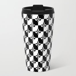 Black and White Checkerboard Checked Squares with French Fleur de Lis Travel Mug