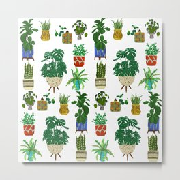 Mid Century Modern Pottery and Plants Metal Print