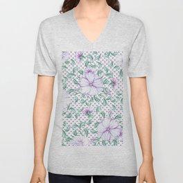Modern botanical hand painted lilac green floral polka dots Unisex V-Neck