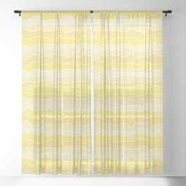 Four Shades of Yellow with White Squiggly Lines Sheer Curtain