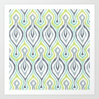 ikat Art Prints featuring Sketchy IKAT by Patty Sloniger