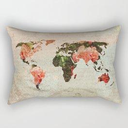 Vintage World Map Rectangular Pillow