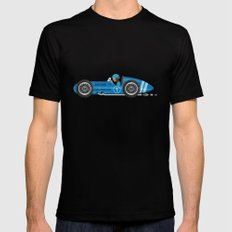 Blue Retro Racing Car Black LARGE Mens Fitted Tee