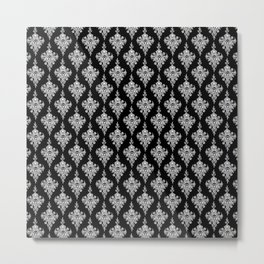 Skullflower Damask - black Metal Print