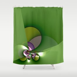 Abstract geometric round shapes on green Shower Curtain