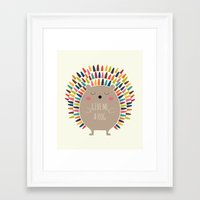 hug Framed Art Prints featuring Give Me A Hug by Andy Westface