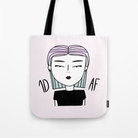 fangirl Tote Bags featuring SHE: FANGIRL by SaladInTheWind