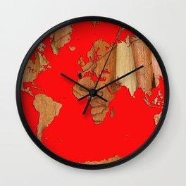 Wood bark - Red - Organic World Map Series Wall Clock