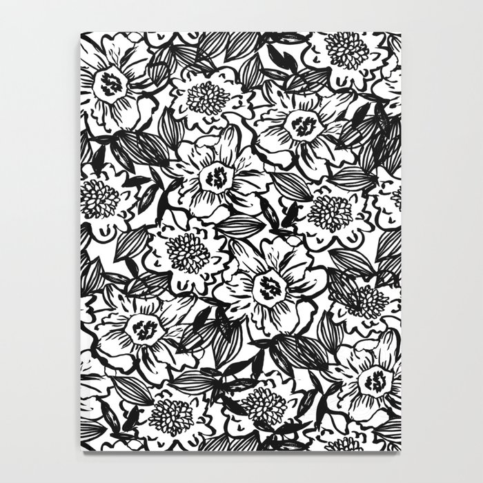 Ella - abstract floral flowers minimal modern black and white girly gender neutral boho painting Notebook
