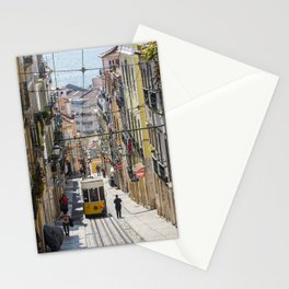 Lisbon Tram on a steep cobbled street Stationery Cards