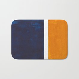 Navy Blue Yellow Ochre Abstract Minimalist Rothko Colorful Mid Century Color Block Pattern Bath Mat