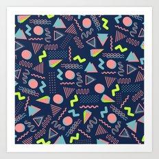Geometrical lime green coral navy blue 80's pattern Art Print