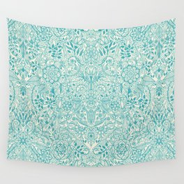 Detailed Floral Pattern in Teal and Cream Wall Tapestry
