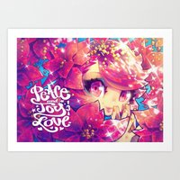 barachan Art Prints featuring peace joy love by barachan