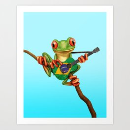 Tree Frog Playing Acoustic Guitar with Flag of Brazil Art Print