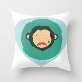Sad Monkey-Bear Throw Pillow