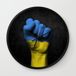 Ukrainian Flag on a Raised Clenched Fist Wall Clock