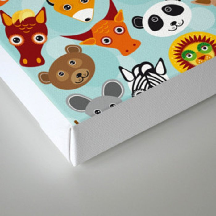 pattern with funny cute animal face on a blue background Canvas Print