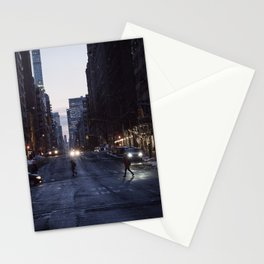 Winter dusk in New York Stationery Cards